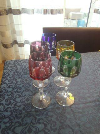 5 Kristallgläser,  Bunt,  Bleikristall,  Römer,  Nachtmann,  Weingläser Bild