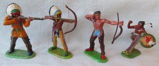 Elastolin Germany - 4 Figuren - Indianer - 2 Häuptlinge Stehend Und 2 Krieger Bild
