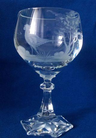 Altes Weinglas Claus Josef Riedel Kristall Glas Ätzstempel J.  R.  Jagd Motiv Fasan Bild