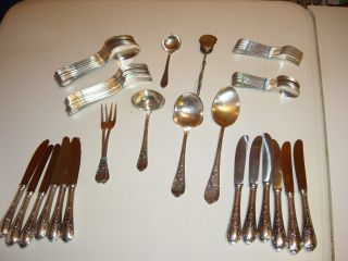 Besteck 12 Personen Versilbert 100 Silberauflage Komplett (1 Kuch.  Löffel Fehlt) Bild