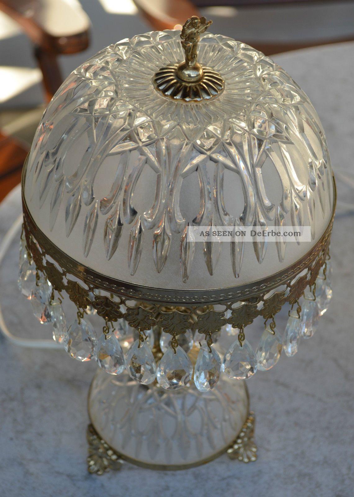 tischlampe aus glas mit kristall l ster barock. Black Bedroom Furniture Sets. Home Design Ideas