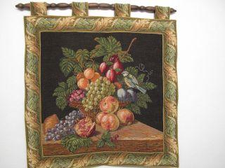 Schöner Gobelin Wandteppich Mit Stange Motiv Obst Vogel Mittelgroß Ca.  61 X 66cm Bild