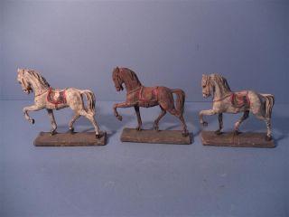 3 Alte Pferde,  Massefiguren,  Elastolin?,  Lineol?,  Wohl Um 1900 Bild