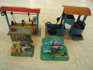 4 Betriebsmodelle Für Dampfmaschine (märklin?) Wasserwerk,  Schuster,  Hütte Bild