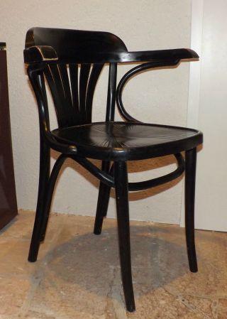 Kaffeehausstuhl Armlehnstuhl Schwarz Bugholz Radomsko Thonet Art Deco 1 V.  2 Bild