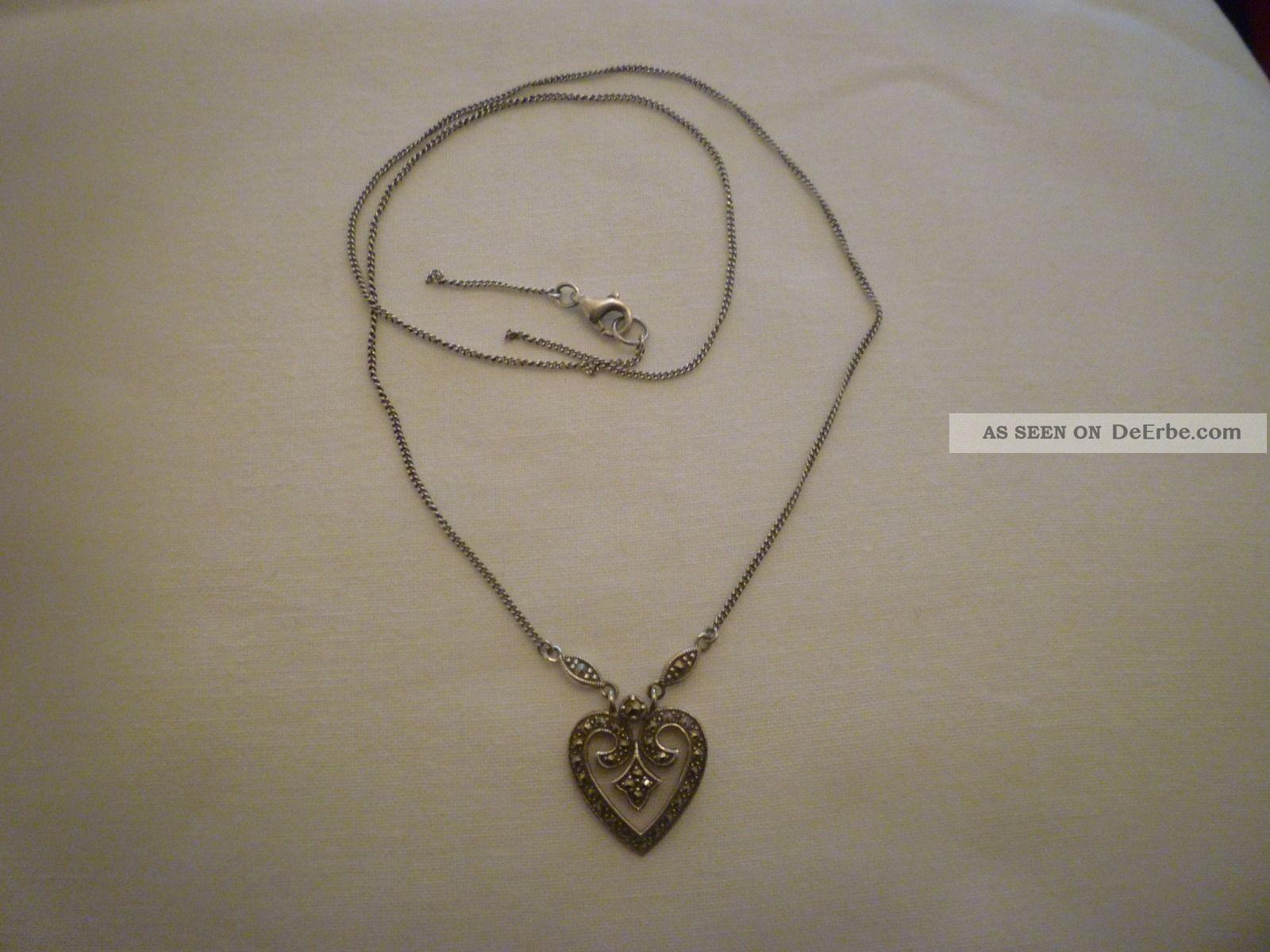 GestSilber 925 Collier Mit Markasit Halskette Alte 5Lqc34jAR