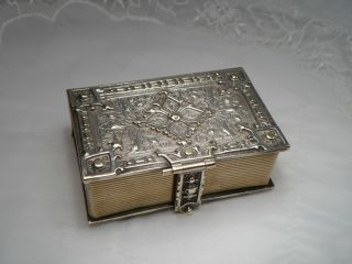 Jugendstil Schatulle Kästchen Buch Messing Versilbert Disteln Verziert 155,  4 Gr Bild