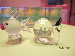 Tierfiguren Aus Sammlung,  Glasfiguren,  Glastiere,  Fisch Und Schnecke,  Swarovski Bild