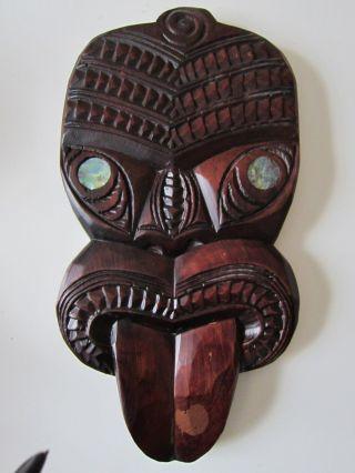 Maori Neuseeland Wand Maske V.  1978 Geschnitzt 328 Gr.  Höhe: 27 X 14 Cm Top Bild