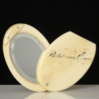 Taschen - Spiegel Um 1900,  Bein,  Graviert
