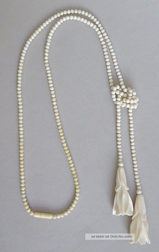 Art Déco Halskette 2 Geschnitze Blüten,  Perlen Erbach Bein Knochen Um 1925 Beinarbeiten Bild