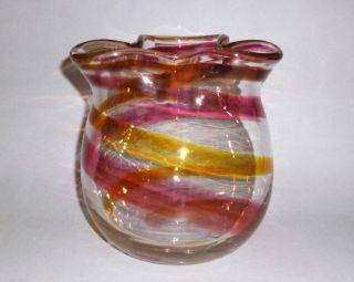 Kunstglas Vase Glas Mundgeblasen Farbspiral Einschmelzungen Signiert 1,  6kg Bild
