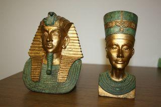 Büste Nofretete Tutanchamun Ägypten Skulpturen Figuren Deko Messing? Sehr Alt Bild