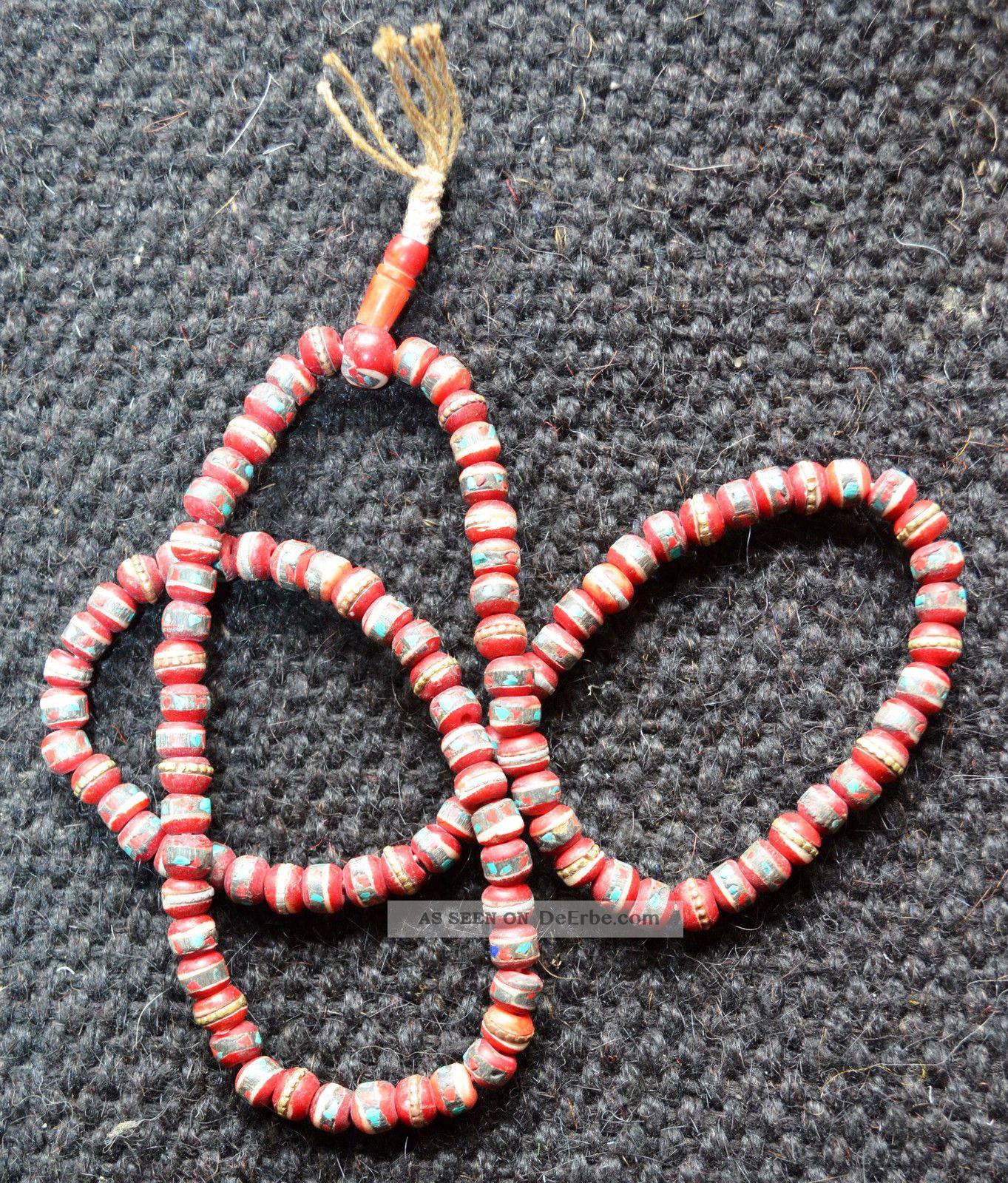 Tibet Mala Prayerbeads Gebetskette Knochen Bone Korallen