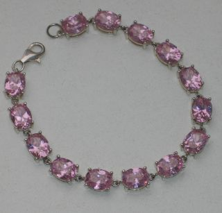 Jugendstil Silber Armband 14 X Ovaler Rosa Turmalin Design Massiv Bild