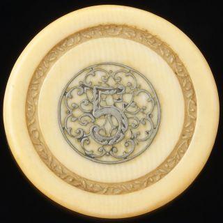 Sehr Alter Casino Chip / Jeton,  Bein / Bone Mit Intarsie,  Wohl Silber,  34,  8 Mm Bild