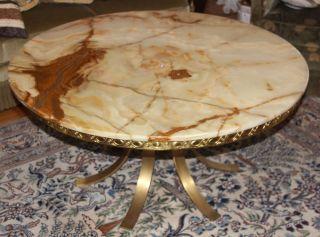 @ Wunderschöner Alter Marmortisch Achat Wohnzimmertisch Tisch Ø 110cm Messing @ Bild