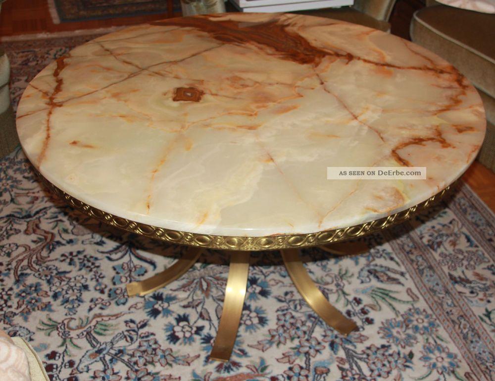 Wunderschner Alter Marmortisch Achat Wohnzimmertisch Tisch 110cm Messing