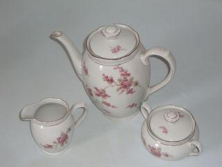 3 Teile Rhenania Duisdorf Porzellan,  Gr.  Kaffeekanne,  Milchkanne,  Zuckerdose M.  D Bild