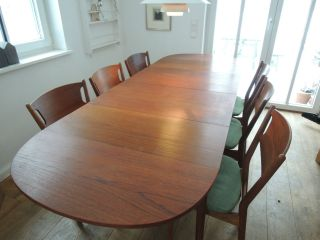 Teak Esszimmer Xxl Esstisch Essgruppe 60er 50er Mid - Century Danish Design Bild