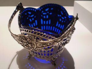 Jugendstil / Silberschale Kobaltblau / Perfekt / 800 Silber / Museumsstück Bild