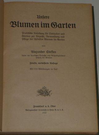 Unsere Blumen Im Garten.  1922 Mit 204 Abbildungen. Bild