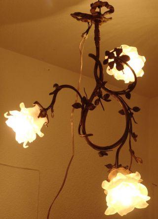 French Art.  Antike Jugendstil Deckenlampe,  Bronze,  3 Flammen Bild