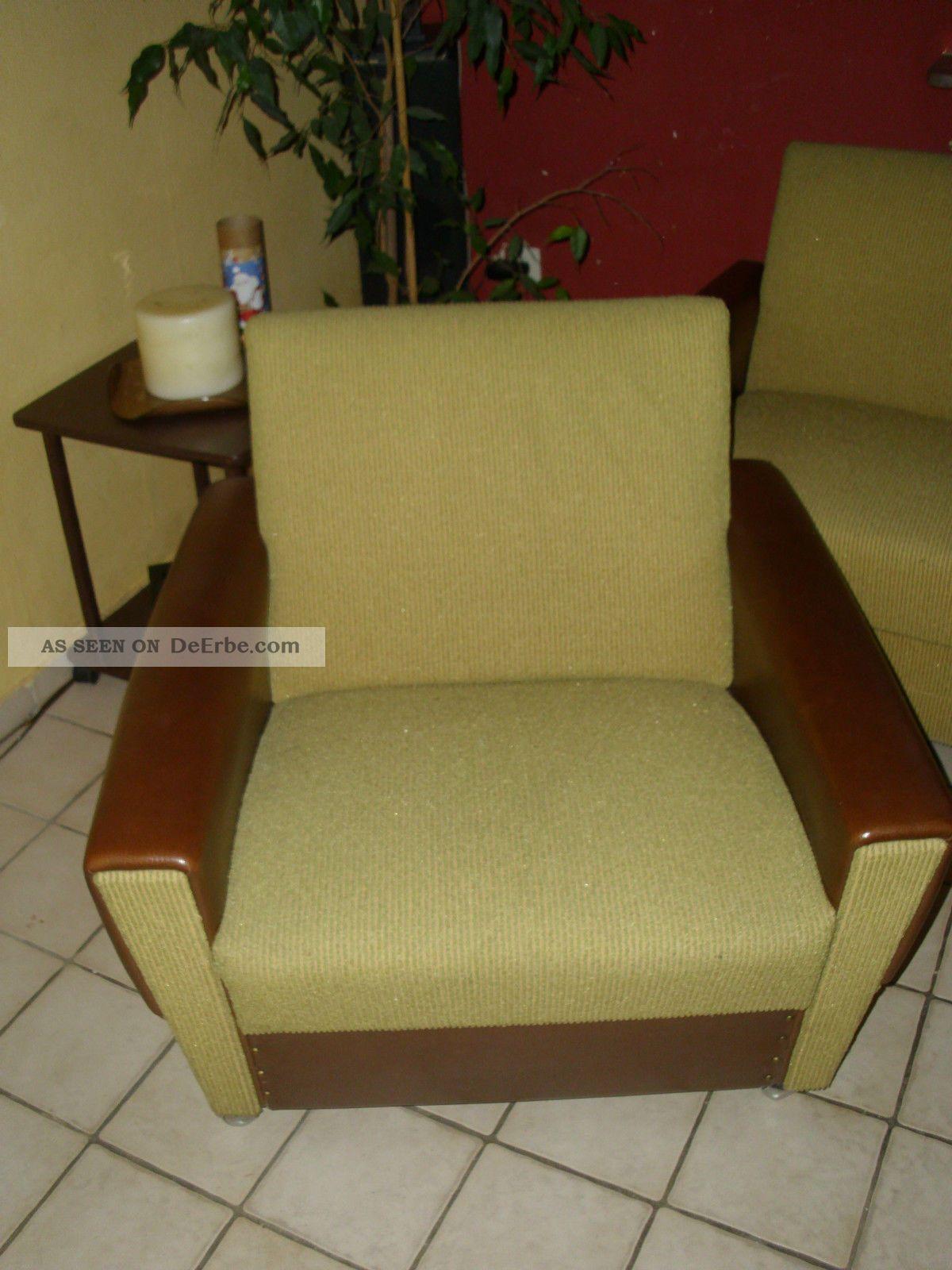 60er 70er jahre schlafcouch 2 sessel in curry. Black Bedroom Furniture Sets. Home Design Ideas