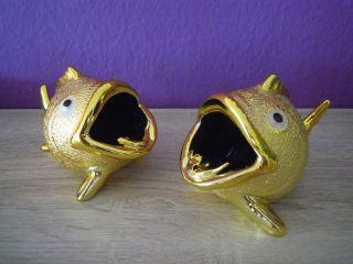Originelle Vintage 1960er Jahre Fisch Kugelfisch Ascher Aschenbecher Goldfarben Bild