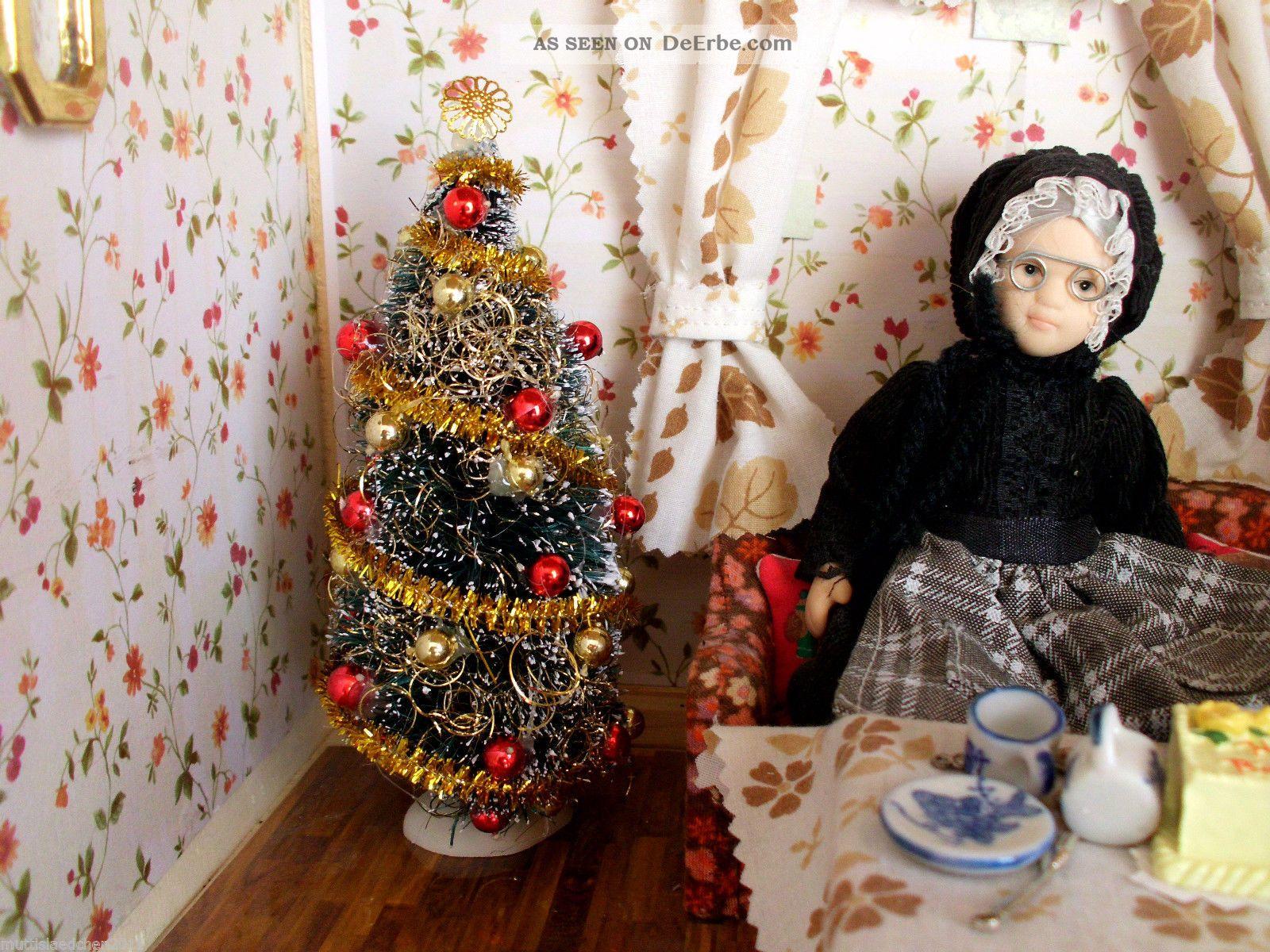 weihnachtsbaum geschm ckt in rot gold kugeln 16 cm hoch. Black Bedroom Furniture Sets. Home Design Ideas