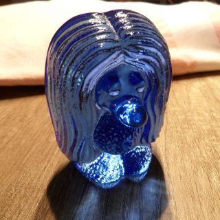 Rar Kobolt Blau Vintage Sweden Bergdala,  Art Glass Troll Briefbeschwerer (a513) Bild