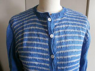 Vintage/retro Strickjacke,  Handgestrickt,  Bw.  Blau - Weiß,  50er Jahre,  Getr. Bild