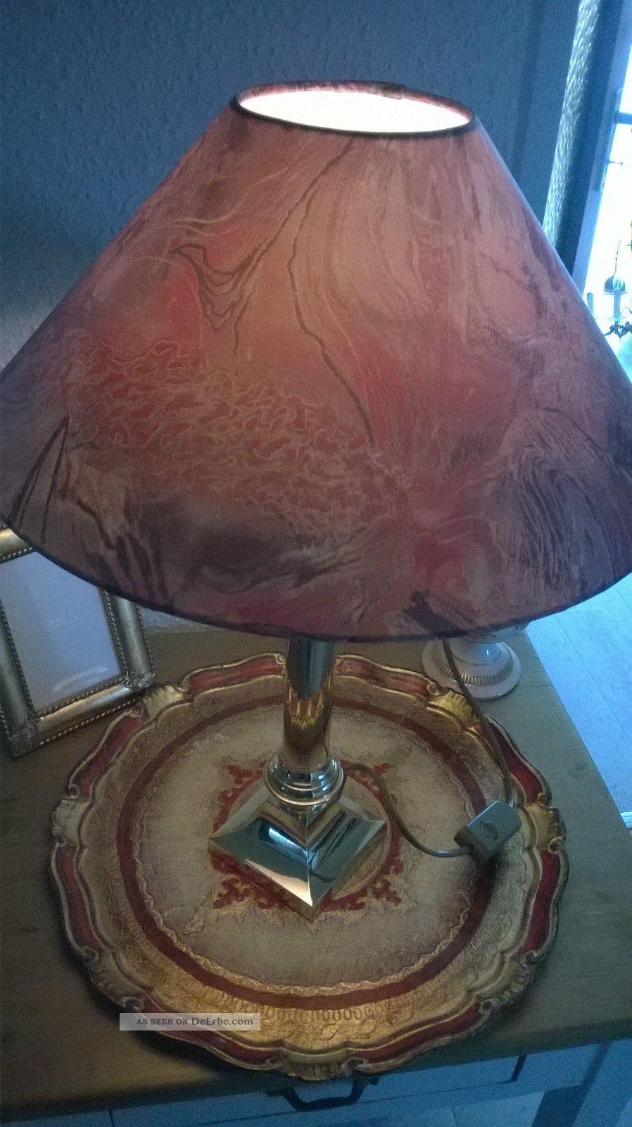 tischlampe messing stoffschirm rotfarben 50cm hoch top. Black Bedroom Furniture Sets. Home Design Ideas