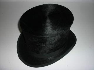 Elegant Zylinder Hut Vintage Gr.  57 Schwarz Kein Chapeau Claque Samt Bild