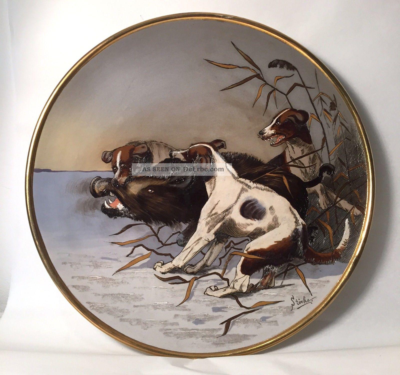 Mettlach Nr.  2071 Um 1890: Großer Teller Mit Jagd Szene,  Jagdhunde,  Wildschwein Jagd & Fischen Bild