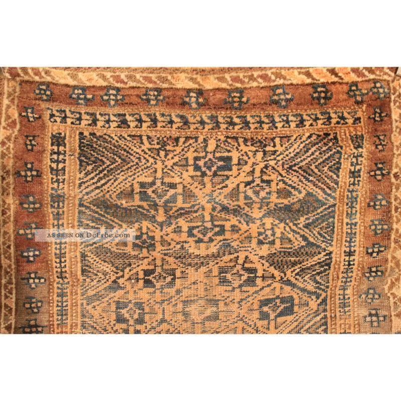 Alter Handgeknüpfter Orient Teppich Belutsch Art Deco Ol