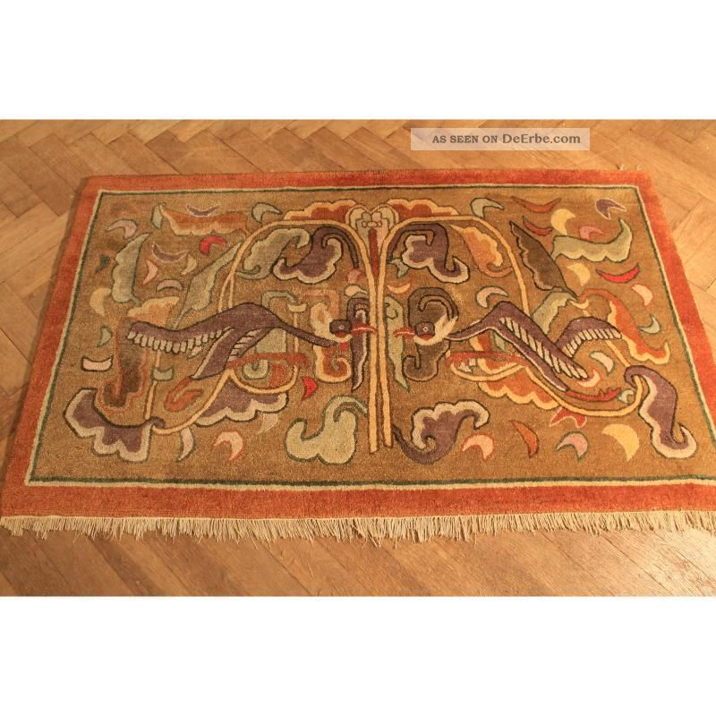 Antik Handgeknüpfter Orient Teppich China Art Deco