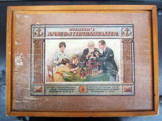 Richter Anker Steinbaukasten Nr.  6 1/2,  Komplett Ohne Bauvorlagenheft,  Ca.  1920. Bild