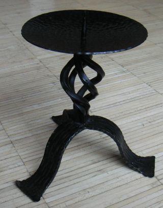 Älterer KerzenstÄnder Kerzenleuchter Schmiedeeisen Schwarz 1 Flammig 22 Cm Bild