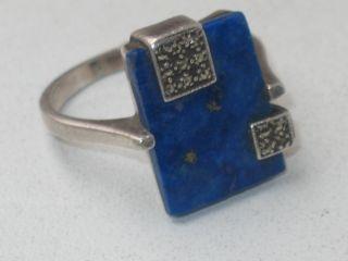 Art - Deco Silber Ring Lapislazuli 13 X Markasit Design Sehr Ausgefallen Bild