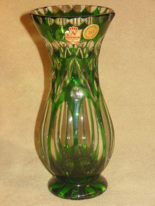 Nachtmann Bleikristall Diamantschliff Vase Tischvase Blumenvase Grün Bild