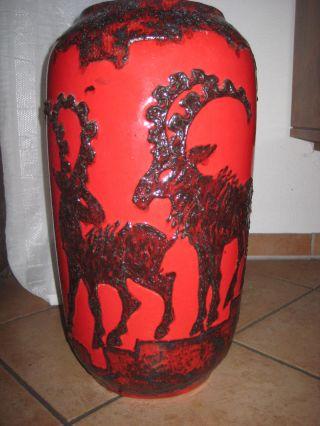 Scheurich ?546/56 Bodenvase 70er Jahre Fat Lava Steinböcke H.  50cm Bild