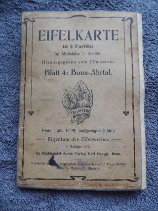 Sehr Alte Wanderkarte Stoff Eifelverein Blatt 4 Bonn Ahrtal 1 Auflage 1913 Bild