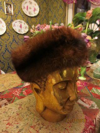 Vintage Zobel Pelz,  Sable Fur Stirnband,  Hut Dunkel Gr 60 Cm Rotbraun Bild
