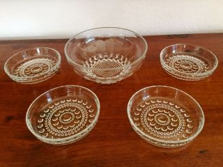 Große Kristall - Glas - Schale Mit 4 Dessertschälchen Bild