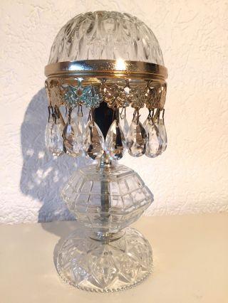 Antik Tischlampe Aus Messing Und Kristall Bild