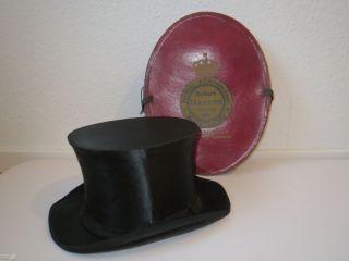 Antiker Chapeau Claque Klappzylinder Zylinder Schwarz Mit Hutschachtel 52 - 53 Bild