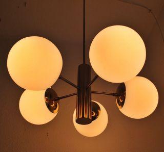 Große Sputnik 5 Glas Kugel Lampe 60er 70er Design Deckenlampe Messingfarben Bild