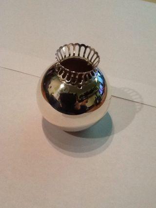 Kugel Kerzenständer Leuchter Silber Versilbert Mit Rand Alt Antik Massiv 155g Bild