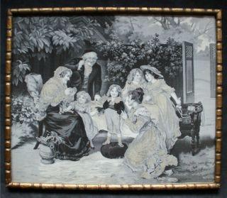 Antike Seiden Tapisserie Nach Einem Gemälde Von F.  Morgan Bild